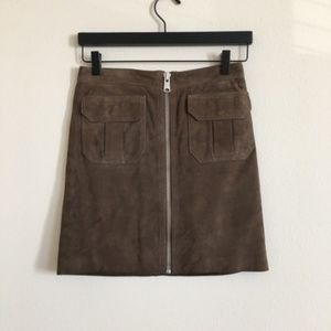 All Saints Taylor Suede Skirt Brown Sz 0